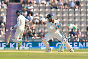 Wicket - Rishabh Pant of India breaks the stumps to run out Sam Curran of England during the 4th day of the 4th SpecSavers International Test Match 2018 match between England and India at the Ageas Bowl, Southampton, United Kingdom on 2 September 2018.