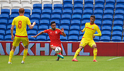 CARDIFF, WALES - Friday, June 5, 2015: Wales' Tyler Roberts and Neil Taylor during a practice match at the Cardiff City Stadium ahead of the UEFA Euro 2016 Qualifying Round Group B match against Belgium. (Pic by David Rawcliffe/Propaganda)