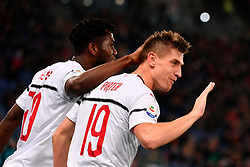 03.02.2019, Stadio Olimpico, Rom, ITA, Serie A, AS Roma vs AC Milan, 22. Runde, im Bild esultanza piatek // piatek celebrates during the Seria A 22th round match between AS Roma and AC Milan at the Stadio Olimpico in Rom, Italy on 2019/02/03. EXPA Pictures © 2019, PhotoCredit: EXPA/ laPresse/ Alfredo Falcone<br /> <br /> *****ATTENTION - for AUT, SUI, CRO, SLO only*****