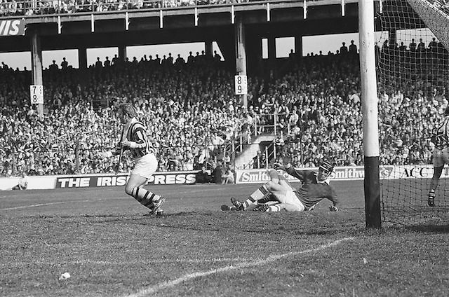Cork goalie falls to the ground near the goalmouth during the All Ireland Senior Gaelic Football Championship Final, Cork v Galway in Croke Park on the 7th October 1956. Galway 2-13 Cork 3-7.