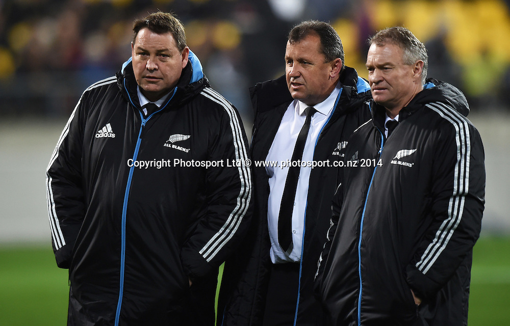Coaches Steve Hansen and Ian Foster with selector Grant Fox. New Zealand All Blacks versus South Africa Springboks. The Rugby Championship. Rugby Union Test Match. Wellington. New Zealand. Saturday 13 September 2014. Photo: Andrew Cornaga/www.Photosport.co.nz