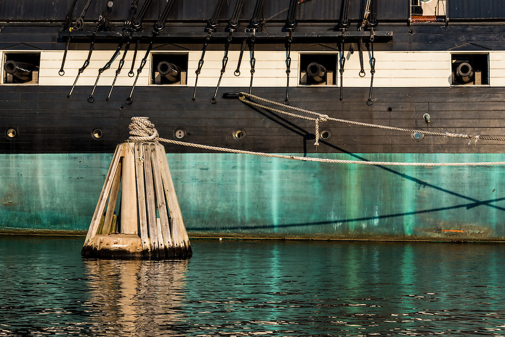 Detail of the USS Constellation in the Inner Harbor of Baltimore City.