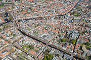 Nederland, Zuid-Holland, Leiden, 09-04-2014; binnenstad met Rapenburg.  Pieterskerk.<br /> Overview on the old town of the city of Leiden with a.o. old church (Pieterskerk) and academy building.<br /> luchtfoto (toeslag op standard tarieven);<br /> aerial photo (additional fee required);<br /> copyright foto/photo Siebe Swart.