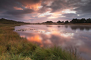 Insh Marshes NNR at sunrise, Scotland.