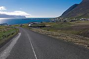 Country road leading through typical landscape in fjord. Patreksfjördur. Iceland.
