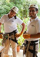 Preparations for an adventure canopy/zipline tour near Lapa Rios Ecolodge, Osa Peninsula, Costa Rica.