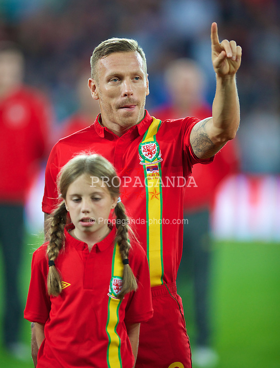 CARDIFF, WALES - Tuesday, September 10, 2013: Wales' Craig Bellamy before the 2014 FIFA World Cup Brazil Qualifying Group A match against Serbia at the Cardiff CIty Stadium. (Pic by David Rawcliffe/Propaganda)