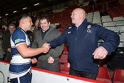 Bristol Rugby's Ellis Genge speaks with fans - Photo mandatory by-line: Dougie Allward/JMP - Mobile: 07966 386802 - 17/04/2015 - SPORT - Rugby - Bristol - Ashton Gate - Bristol Rugby v Jersey - Greene King IPA Championship