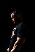 Baltimore, Maryland - May 17, 2018: World Armwrestling League heavyweight Marcio Barboza waits for his match introduction during the WAL Supermatch Showdown Series at Rams Head Live in Baltimore, Thursday May 17th, 2018. Bleacher Report Live is the exclusive broadcaster of the event. With the recent advent of online video streaming services, niche sporting leagues are now able to sign broadcast deals. <br /> <br /> <br /> CREDIT: Matt Roth for The New York Times<br /> Assignment ID: 30219819A