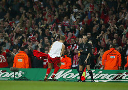 CARDIFF, WALES - Sunday, March 2, 2003: Liverpool's Steven Gerrard celebrates scoring the opening goal against Manchester United during the Football League Cup Final at the Millennium Stadium. (Pic by David Rawcliffe/Propaganda)