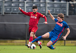 LIVERPOOL, ENGLAND - Monday, February 24, 2020: Liverpool's Joe Hardy (L) and Sunderland's Wouter Verstraaten during the Premier League Cup Group F match between Liverpool FC Under-23's and AFC Sunderland Under-23's at the Liverpool Academy. (Pic by David Rawcliffe/Propaganda)