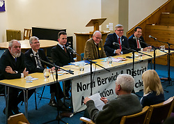 North Berwick, East Lothian, Scotland, United Kingdom, 28 November 2019. General Election: First hustings for the 5 candidates seeking election as MP for East Lothian with questions from the audience ranging from Defence to Honesty. Pictured (L to R): David Sisson, UKIP candidate, former Justice Secretary Kenny MacAskill, Scottish National Party (SNP) candidate, Keith Stewart, QC & chair of the event, Robert O'Riordan, Scottish Liberal Democrats candidate, sitting MP Martin Whitfield, Scottish Labour Party candidate, Haddington and Lammermuir ward councillor Craig Hoy, Scottish Conservative & Unionist Party candidate.  Sally Anderson   EdinburghElitemedia.co.uk