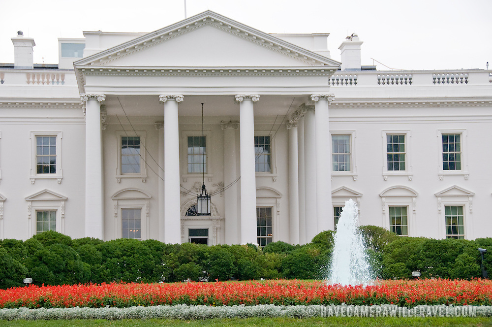 White House North Entrance, on a cloudy day.