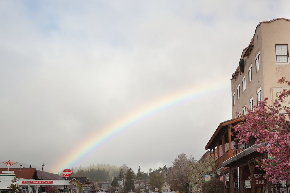 """""""Rainbow in Downtown Truckee"""" - Photograph of a rainbow in the morning over historical Downtown Truckee, California."""