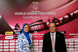 27-08-2013 VOLLEYBALL: WORLD GRAND PRIX FINAL6: SAPPORO<br /> General Technical meeting and press conference / Ms. Howyda Mondy, FIVB member, Mr. Hassan Mohamed, President FIVB Referee Commission<br /> ©2013-FotoHoogendoorn.nl
