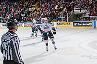 KELOWNA, CANADA - FEBRUARY 13: Carsen Twarynski #18 of the Kelowna Rockets skates to the bench after scoring a tie breaking third period goal against the Seattle Thunderbirds on February 13, 2017 at Prospera Place in Kelowna, British Columbia, Canada.  (Photo by Marissa Baecker/Shoot the Breeze)  *** Local Caption ***