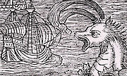 A sperm whale blowing near a sailing ship. Woodcut from 'Historia de gentibus septentriionalibus'  (History of the Northern People) by Olaus Magnus, first published 1555.