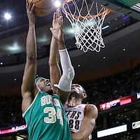 09 March 2012: Boston Celtics small forward Paul Pierce (34) goes for the layup against  Portland Trailblazers forward Nicolas Batum (88) during the Boston Celtics 104-86 victory over the Portland Trail Blazers at the TD Banknorth Garden, Boston, Massachusetts, USA.