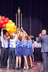 "Antilles school students celebrate their first place win.  Dancing Classrooms Virgin Islands students compete in ""Colors of the Rainbow"" team match competition at Reichhold Center for the Arts.  St. Thomas, USVI.  9 May 2015.  © Aisha-Zakiya Boyd"