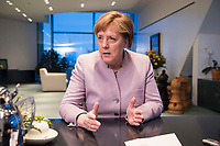 20 MAR 2017, BERLIN/GERMANY:<br /> Angela Merkel, CDU, Bundeskanzlerin, waehrend einem Interview, in ihrem Buero, Bundeskanzleramt<br /> IMAGE: 20170320-01-003<br /> KEYWORDS: B&uuml;ro