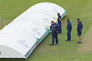 Shower forces early lunch at the Riverside during the Specsavers County Champ Div 2 match between Durham County Cricket Club and Leicestershire County Cricket Club at the Emirates Durham ICG Ground, Chester-le-Street, United Kingdom on 19 August 2019.