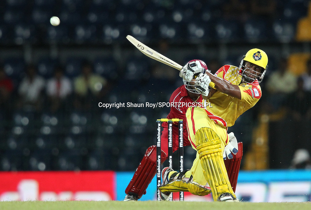 Jeevan Mendis of Basnahira Cricket Dundee attacks a delivery during match 4 of the Sri Lankan Premier League between Uva Next and Basnahira Dundee held at the Premadasa Stadium in Colombo, Sri Lanka on the 12th August 2012<br />  <br /> Photo by Shaun Roy/SPORTZPICS/SLPL
