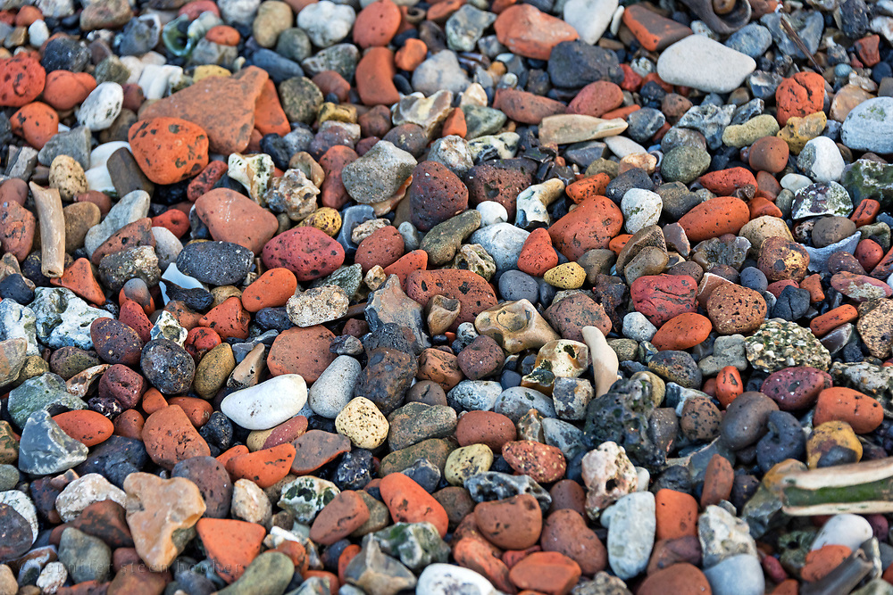 Parts of the Greenwich foreshore are dominated by weathered fragments of brick, London, UK