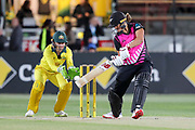 Suzie Bates cuts. Women's T20 international Cricket , Australia v New Zealand White Ferns. North Sydney Oval, Sydney, NSW, Australia. 29 September 2018. Copyright Image: David Neilson / www.photosport.nz