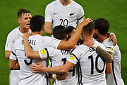 All Whites celebrate All Whites' Ryan Thomas's goal during the New Zealand All Whites v Fiji, FIFA Football World Cup Qualification, OFC Final Group Stage. Westpac Stadium, Wellington, New Zealand. 28 March 2017. Copyright Image: Mark Tantrum / www.photosport.nz