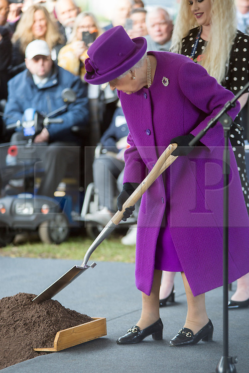 @Licensed to London News Pictures 06/11/2019. Aylesford, Kent. Her Majesty The Queen submits a letter to the time capsule, to be opened in 100 years' time. Her Majesty The Queen arrives to mark the Royal British Legion Industries' centenary at  Appleton Lodge in Aylesford, near Maidstone in Kent today. The new care home is part of the £22m Centenary Village development offering new luxury care facility for veterans and their famillies. Photo credit: Manu Palomeque/LNP
