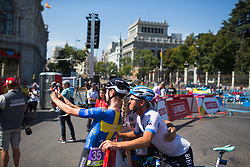 Emilia Fählin (SWE) of Wiggle High5 Cycling Team poses for a selfie before Stage 2 of the Madrid Challenge - a 100.3 km road race, starting and finishing in Madrid on September 16, 2018, in Spain. (Photo by Balint Hamvas/Velofocus.com)