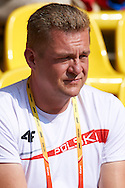 Trainer coach Krzysztof Kaliszewski watching the women's hammer throw competition during the 14th IAAF World Athletics Championships at the Luzhniki stadium in Moscow on August 14, 2013.<br /> <br /> Russian Federation, Moscow, August 14, 2013<br /> <br /> Picture also available in RAW (NEF) or TIFF format on special request.<br /> <br /> For editorial use only. Any commercial or promotional use requires permission.<br /> <br /> Mandatory credit:<br /> Photo by © Adam Nurkiewicz / Mediasport