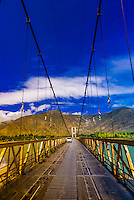 Tagtse Bridge over Kyichu River, Tibet (Xizang), China.