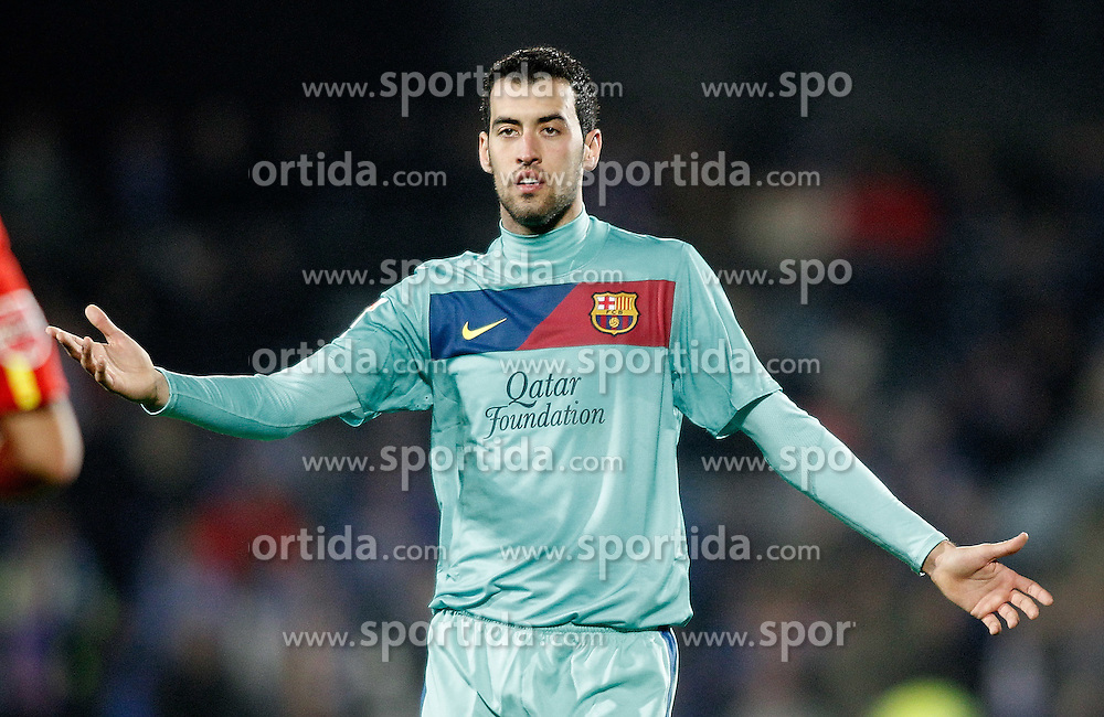 26.11.2011, Stadion Coliseum Alfonso Perez, Getafe, ESP, Primera Division, FC Getafe vs FC Barcelona, 14. Spieltag, im Bild Barcelona's Sergio Busquets dejected // during the football match of spanish 'primera divison' league, 14th round, between FC Getafe and FC Barcelona at Coliseum Alfonso Perez stadium, Getafe, Spain on 2011/11/26. EXPA Pictures © 2011, PhotoCredit: EXPA/ Alterphotos/ Alvaro Hernandez..***** ATTENTION - OUT OF ESP and SUI *****