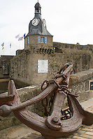 Clock tower on the ramparts of the Ville Close, The Old Town of Concarneau
