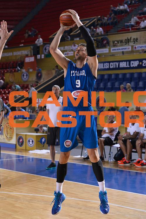 DESCRIZIONE : Tbilisi Nazionale Italia Uomini Tbilisi City Hall Cup Italia Italy Lettonia Latvia<br /> GIOCATORE : Andrea Bargnani<br /> CATEGORIA : tiro<br /> SQUADRA : Italia Italy<br /> EVENTO : Tbilisi City Hall Cup<br /> GARA : Italia Lettonia Italy Latvia<br /> DATA : 14/08/2015<br /> SPORT : Pallacanestro<br /> AUTORE : Agenzia Ciamillo-Castoria/Max.Ceretti<br /> Galleria : FIP Nazionali 2015<br /> Fotonotizia : Tbilisi Nazionale Italia Uomini Tbilisi City Hall Cup Italia Italy Lettonia Latvia