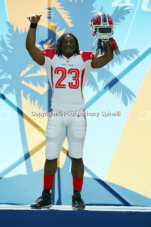 HONOLULU, HI - FEBRUARY 08: AFC All-Stars running back Marshawn Lynch #23 of the Buffalo Bills takes the field during player introductions at the 2009 NFL Pro Bowl against the NFC All-Stars at Aloha Stadium on February 8, 2009 in Honolulu, Hawaii. The NFC defeated the AFC 30-21. ©Paul Anthony Spinelli *** Local Caption *** Marshawn Lynch