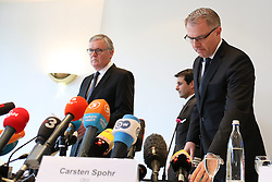 26.03.2015, Leonardo Hotel, Koeln, GER, Germanwings Flug 4U9525, Flugzeugabsturz in Frankreich, Pressekonferenz Deutsche Lufthansa nach einer ersten Auswertung des Voicerecorders, im Bild Carsten Spohr (Vorstandsvorsitzender der Deutsche Lufthansa AG, CEO) und Thomas Winkelmann (Germanwings CEO / Geschaeftsfuehrer) // during a press conference of German Lufthansa to the Crash of Germanwings flight 4U 9525 after a first evaluation of the flight data recorder. An Airbus A320 of Germanwings has crashed on March 24, 2015 in Southern French Alps on its flight from Barcelona Leonardo Hotel in Koeln, Germany on 2015/03/26. EXPA Pictures © 2015, PhotoCredit: EXPA/ Eibner-Pressefoto/ Schüler<br /> <br /> *****ATTENTION - OUT of GER*****