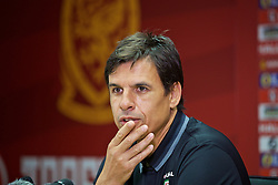 CARDIFF, WALES - Thursday, September 1, 2016: Wales' manager Chris Coleman during a press conference at the Cardiff City Stadium ahead of the 2018 FIFA World Cup Qualifying Group D match against Moldova. (Pic by David Rawcliffe/Propaganda)