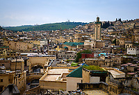 FEZ, MOROCCO - CIRCA MAY 2018:  View of Fez and rooftops of the Medina Fes el Bali, the oldest medina quarter of the city,.