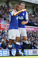 Picture by Richard Calver/Focus Images Ltd +447792 981244<br /> 28/09/2013<br /> David McGoldrick (left) of Ipswich Town is congratulated by Christophe Berra after his opening goal of the game against Brighton and Hove Albion during the Sky Bet Championship match at Portman Road, Ipswich.