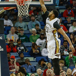 Mar 17, 2017; New Orleans, LA, USA; New Orleans Pelicans forward Anthony Davis (23) dunks against the Houston Rockets during the first quarter of a game at the Smoothie King Center. Mandatory Credit: Derick E. Hingle-USA TODAY Sports