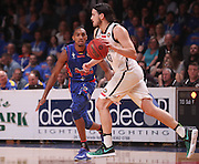 14/10/2016 Terrance Ferguson defends Melbourne United guard Chris Goulding (#43) as he makes his debut in front of the Adelaide 36ers home crowd as the Adelaide 36ers vs Melbourne United at the Titanium Security Arena.