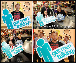 "No Fee for Repro..""Get Men Talking"".Pictured at the launch of the Marie Keating Foundation's ""Get Men Talking"" campaign, supported by Marks & Spencer is Ronan Keating with Paul McCoy, Stuart Brown, Ryan Lemon, Gavin Gannon and Steven Cummins from M&S Dundrum. Pc Andres Poveda / CPR."