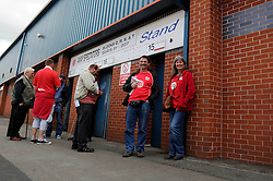 Bristol City fans wait outside the Spotland Stadium - Photo mandatory by-line: Dougie Allward/JMP - Mobile: 07966 386802 23/08/2014 - SPORT - FOOTBALL - Manchester - Spotland Stadium - Rochdale AFC v Bristol City - Sky Bet League One