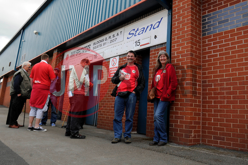 Bristol City fans wait outside the Spotland Stadium - Photo mandatory by-line: Dougie Allward/JMP - Mobile: 07966 386802 23/08/2014 - SPORT - FOOTBALL - Manchester - Spotland Stadium - Rochdale AFC v Bristol City - Sky Bet League One