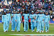 England win - The England players walk off the field after beating Bangladesh by 106 runs during the ICC Cricket World Cup 2019 match between England and Bangladesh the Cardiff Wales Stadium at Sophia Gardens, Cardiff, Wales on 8 June 2019.