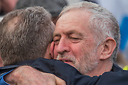 Jeremy Corbyn hugs Mark Serwotka the leader of the PCS union who has benefited greatly from the NHS having just had a heart transplant - A march against cuts to and potential privatisation of the NHS starts in Tavistock Square and heads for Parliament Square. The march was organised by the peoples assembly and supported by most major unions and the Labour Party.