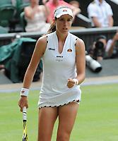 Tennis - 2019 Wimbledon Championships - Week Two, Monday (Day Seven)<br /> <br /> Women's Singles, Fourth Round: Johanna Konta (GBR) v Petra Kvitova (CZE)<br /> <br /> Johanna Konta, on Centre court .<br /> <br /> COLORSPORT/ANDREW COWIE