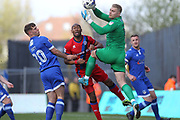 Connor Ripley saves under pressure from Calvin Andrew during the EFL Sky Bet League 1 match between Oldham Athletic and Rochdale at Boundary Park, Oldham, England on 22 April 2017. Photo by Daniel Youngs.